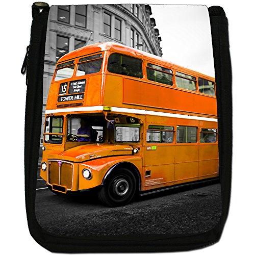 London Bus-Borsa a tracolla in tela, colore: nero, taglia: M Nero (Orange London Bus)
