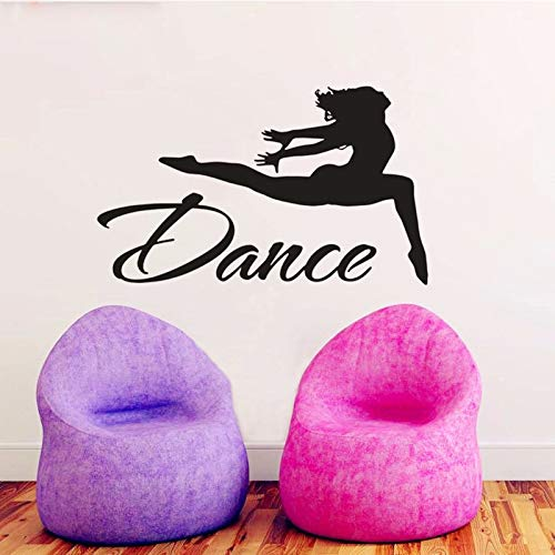 ndtattoo Gymnastik Wandkunst Sport Dekor Springen Tänzerin Wandtattoo Vinyl Aufkleber Dance Studio Dekor 54 * 90cm ()