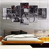 zxfcczxf Leinwand Malerei Rahmen Modulare Bild Wandkunstausgangsdekoration Für Wohnzimmer Poster 5 Panel Fahrrad Moderne Druck Typ-40x60cm*2/40x80cm*2/40x100cm*1