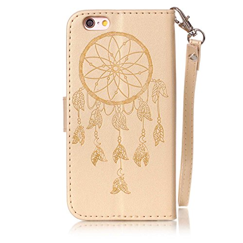 Custodia per iPhone 6/6S Plus ,SKYXD Cover Libro Portafoglio in Pelle + TPU Gel Antiurto 360 Full Body Protezione Completa Retro Flip Coperture Case per Apple iPhone 6S/6 Plus,3D Colorata Glitter Blin Oro Campanula