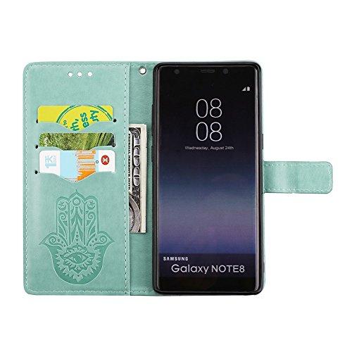 EKINHUI Case Cover Geprägte Palmen-Blumen-Muster Retro PU-lederner Mappen-Beutel-Kasten-Abdeckung mit Karten-Schlitzen und Lanyard für Samsung-Galaxie-Anmerkung 8 ( Color : Purple ) Green