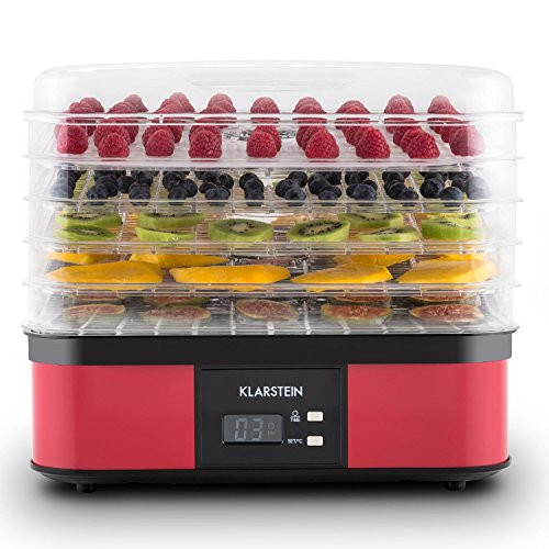 51iFzzSP9qL. SS500  - Klarstein Valle di Frutta - Dehydrator, Automatic Dehydrator, Fruit Dryer, 5 Levels, 250 W, Adjustable Temperature, Timer, LCD Display, 2-Key Operating Section, Easy Cleaning, red