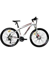 "West bicicleta 27,5""para hombre y mujer para bicicleta de montaña Shimano M3709S MTB bicicleta D370, White-red"