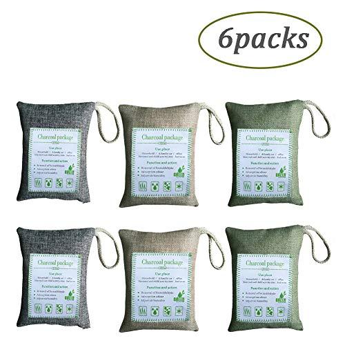 DEEN 6 Pack Natural Olor Absorbente carbón bambú