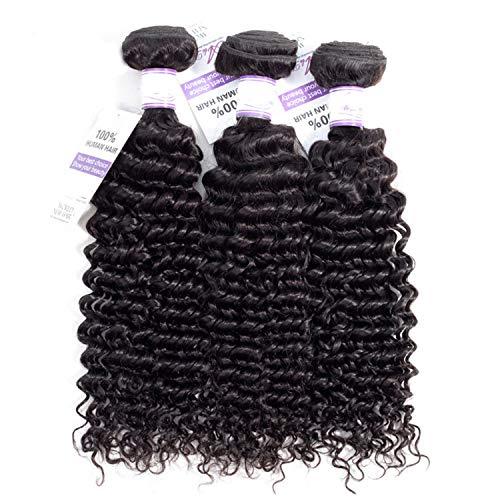 Natürliche Haarteile Brasilianische Deep Wave Hair Weave Bundles 100% Echthaar Weben Natürliche Farbe Nicht Remy Haar kaufen Perücken (Stretched Length : 26 26 26 inches) (Kaufen Pferdeschwanz Perücken)