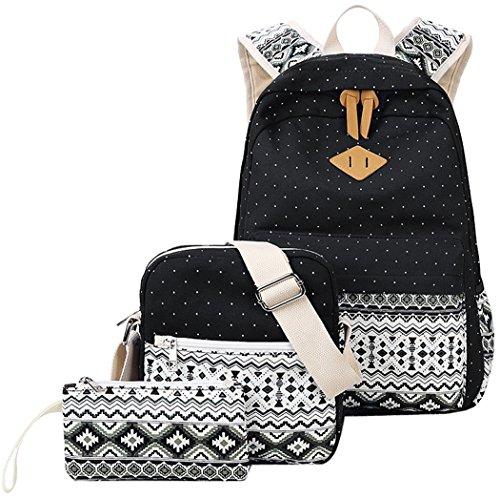 Casual canvas zaino scuola set + borsa a tracolla + portamonete/astuccio zaino casual zaino per il tempo libero daypacks back pack per bambini e ragazzi