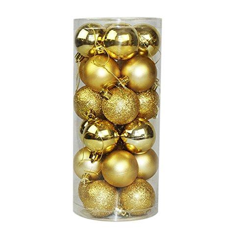 ecosway 24 x Rund Weihnachtskugeln Kugeln XMAS TREE Weihnachtsbaum Deko Weihnachten Kugeln Party Supplies Weihnachten Ornament, gold 4cm