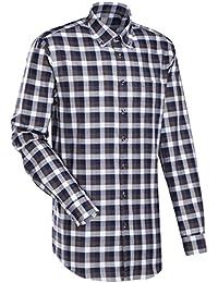JACQUES BRITT Business Hemd Custom Fit Langarm Bügelleicht Karo Businesshemd Button-Down-Kragen Manschette weitenverstellbar