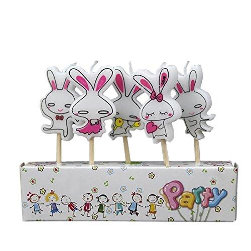 Preisvergleich Produktbild 5er Pack Paraffin Cartoon Kinder Kinder Geburtstag Party Kuchen Kerze Dekoration mit Holzstab Hase