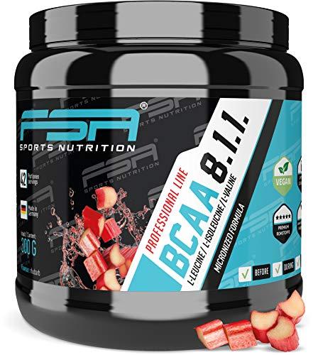 BCAA 8:1:1 Pulver mit essentiellen Aminosäuren, Vegan und ohne Dextrose/Maltodextrin, Low Carb, 300 g - von der Profisport-Marke FSA Nutrition, Hergestellt in Deutschland