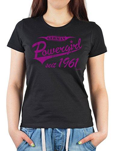 Girlie Shirt ::: German Powergirl seit 1961 ::: witziges Geburtstagshemd Schwarz