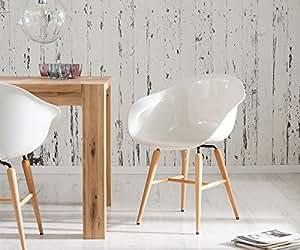 Kare 76420 Forum Wood White Fauteuil avec pieds en hêtre pour salle à manger Blanc/hêtre