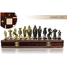 Luxury MEDIEVAL GOLD 40cm / 16 Metalized Plastic Metal Weighted Chessmen & Large Decorative Wooden Chessboard !!! by Master Of Chess