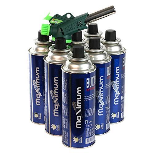 Lötbrenner Gas Torch Gas Pistole Feuerzeug Flambierbrenner mit Piezo Zündung im Set 4-28 Gaskartuschen Maximum (8)