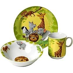 Ritzenhoff & Breker 006940 - Servicio de mesa infantil (3 piezas: plato, cuenco y taza), diseño de animales de la jungla