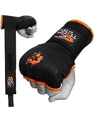 Tigon Guantes de boxeo, vendaje en algodón para las manos, interior de gel MMA (negro)., negro