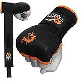 Guantes de boxeo Tigon con vendaje de algodón e interior de gel para MMA (negros), color negro, tamaño Medium