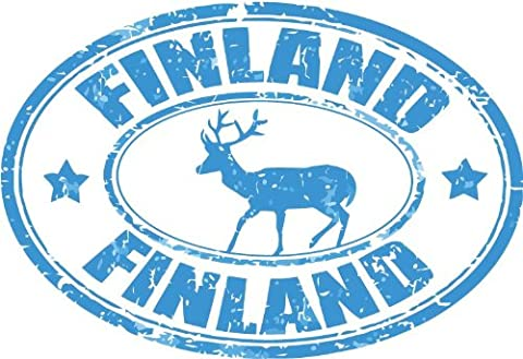 Finland Elk Animal Europe Travel Grunge Stamp Car Bumper Sticker Decal 12 x 8 cm