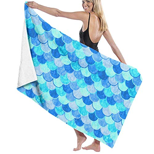 fgregtrg Beach Towels Decor Premium 100% Polyester Fiber Sky Blue Mermaid Fish Scale Bath Towel by Quick Dry Towel Soft, High Absorbent, Eco-Friendly Printed Bath Towel,Quick Dry 31.5\