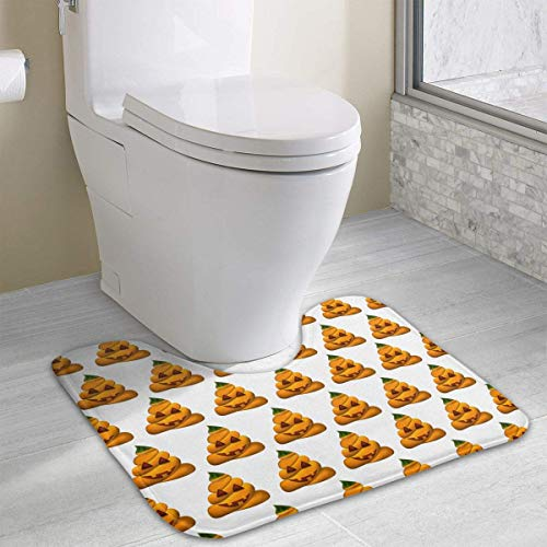alloween Pumpkin Shit U-Shaped Absorbs Moisture Non Slip Bathroom Rugs Toilet Carpet Floor Mat, 15.8