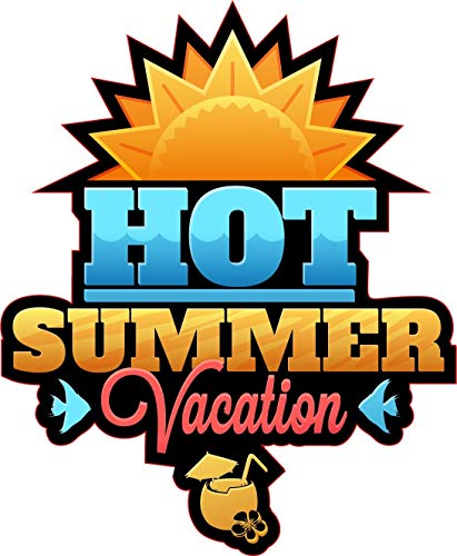 NetSpares 122672696  1 x Aufkleber Hot Summer Vacation Sticker Fun Sun Cocktail Gag Party Sound DJ