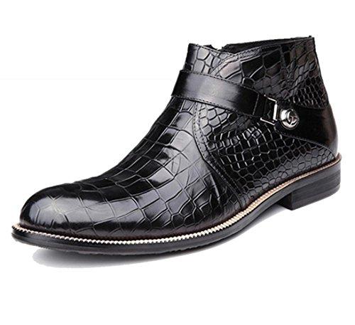 WZG New England autunno e inverno retrò scarpe Martin stivali di pelle stivali stivali marea stivali stivali da uomo degli uomini rotondi di scarpe a punta , black , 45 need to book - Goffratura Cera