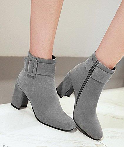 Aisun Femme Classique Boucle Chaussures à Talon Haut Bottines Gris