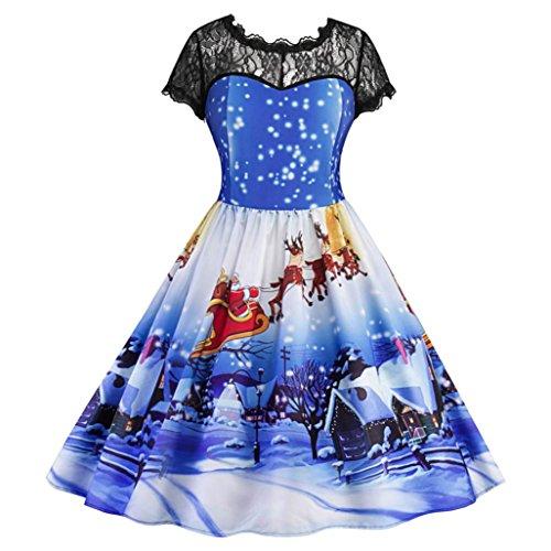 Frau kurzärmlig Kleid Mit Spitze Damen Weihnachten Partykleider Rüschenkleid Festlich Vintage...
