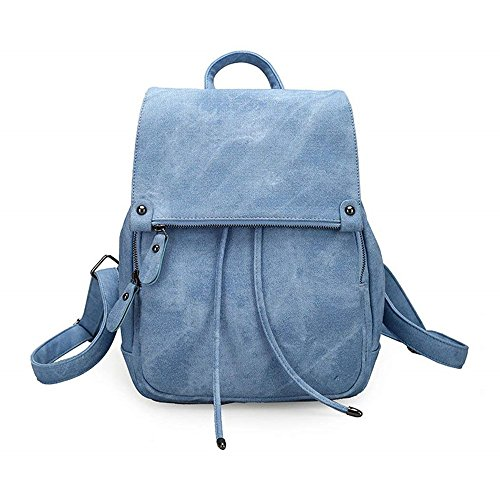 EXQUILEG Vintage Mode Damen Kleinen Rucksack,Umhängetasche,Handtasche Mädchen,Schulrucksäcke, Casual Daypack PU Leder Rucksäcke Reise Schultasche (Blau)