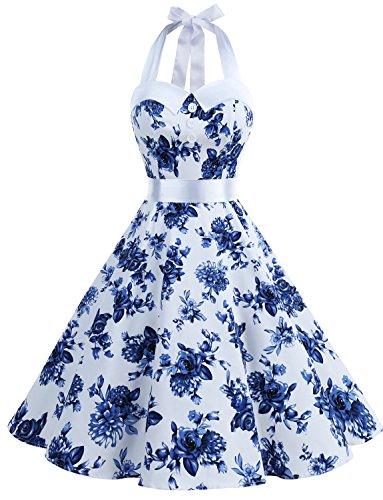 Dressystar DS1957 Robe de Bal Polka Vintage pin-up à 'Audrey Hepburn' 50's 60's Rockabilly Halter,Dos Nu, Rose à Pois Blanc XXXL