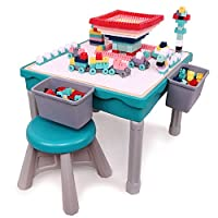 Arkmiido Multi-purpose Activity Table for Kids Building and fishing, dining, Kids Play and Learn Desk with 1 Chair, include 200PCS blocks.