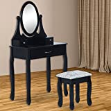 HOMCOM Wooden Dressing Table Vanity Set 3 Drawer Makeup Bedroom Furniture Shabby Chic Style Jewelry Cosmetic Storage Black w/ Padded Stool & Mirror
