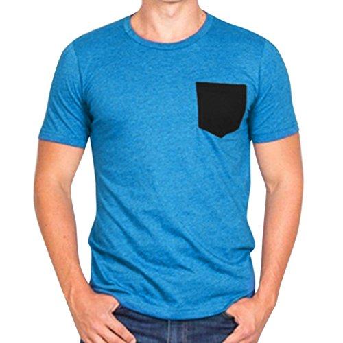 Dasongff Herren T Shirt Kurzarm Top Sweatshirt Männer Slim Fit T-Shirt Freizeitshirt Hemd mit Rundhalsausschnitt Taschen (XL, Blau)