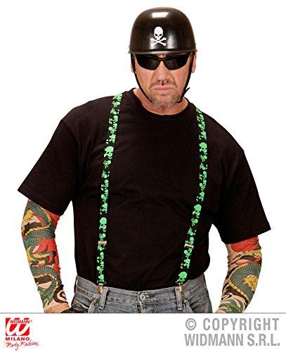 I SET - BIKER - ( Helm + Hosenträger ), Motorradfahrer Rocker Gang Skull Totenköpfe Hardrock ()