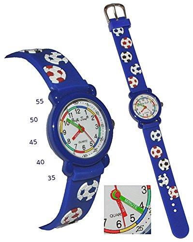 Produktbild 3-D Kinderuhr Fußball - Uhr Kinder Armbanduhr - mit Silikon Armband / für Jungen Fussball blau Ball bunt Sport Analog Lernuhr