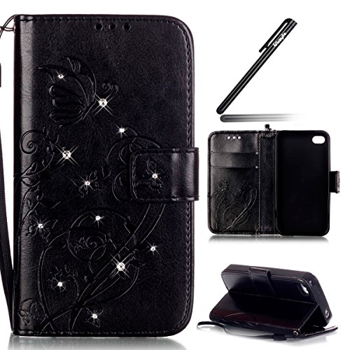 Coque pour iPhone 4S, Housse pour iPhone 4S, iPhone 4/4S Etui en PU Cuir Portefeuille Coque Bookstyle Étui Folio Housse, Ukayfe Etui de Protection PU Cuir Portefeuille Housse Swag Leather Cartoon Case Diamant Papillon-Noir