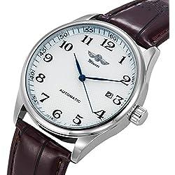 Gute Classic Winner Montre mécanique pour homme avec cadran blanc et aiguilles bleues Bracelet simili cuir PU Remontage automatique