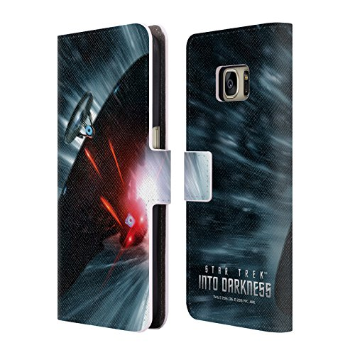 Head Case Designs Offizielle Star Trek Raumschiff Jagd Poster Into Darkness XII Brieftasche Handyhülle aus Leder für Samsung Galaxy S7