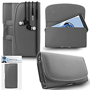 iTALKonline Huawei G8 Grey PREMIUM PU Leather Horizontal Executive Side Pouch Case Cover Holster with Belt Loop Clip and Magnetic Closure Includes Grey Premium 3.5mm Aluminium High Quality In Ear Stereo Wired Headset Hands Free Headphones with Built in Mic Microphone and On Off Button