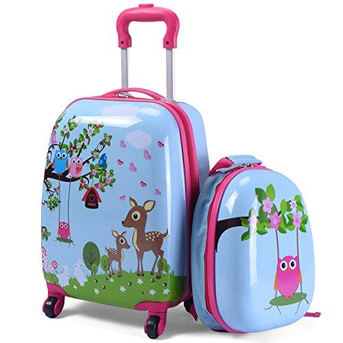 COSTWAY 2tlg Kinderkoffer + Rucksack Kofferset Kindergepäck Reisegepäck Kindertrolley (Hellblau)
