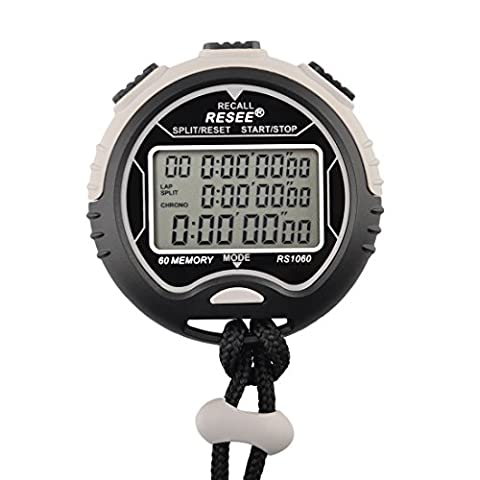 Foxom Stopwatch Professional Digital Waterproof Chronograph Timer, Three-Row 60 runway