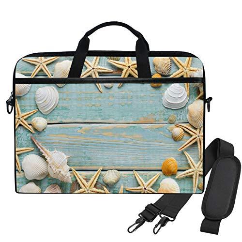 Tenboya Laptoptasche 14 Zoll Sea Muscheln Vintage Shabby Blau Holz Aktentasche 13,3 Zoll Computer Schultertasche -