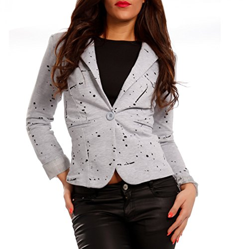 Damen Blazer Business Jacke Basic Kurzjacke Grau