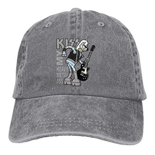 Ass Kostüm Kiss - Adjustable Kiss My Heavy Metal Ass Cowboy Cotton Ball Hat Campaign Cap Comfortable and Breathable Gray
