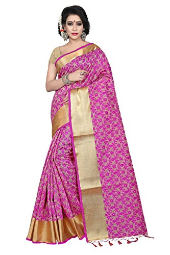 Laxmi Fashion Women's Silk Cotton Saree With Blouse Piece (Z0107-Simado-1-Pink, Pink, Free...