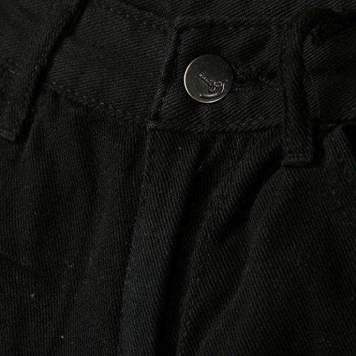 Ouneed® Femme Hauts Taille Corsaire Jean Troue Short Denim (XL tour de fesse 101cm, Bleu) Noir