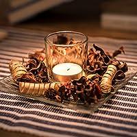 Juego de candelero de decoración iluminación romántica de velas: Set rústico - Vela de palma de cera y soporte de vidrio y popurrí decorativo en recipiente ...