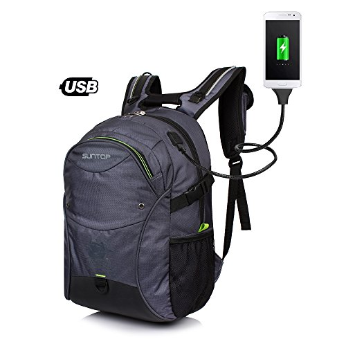 Suntop USB Laptop Backpack 30 Litres Large Sized for upto 15.6 inches (Grey)