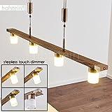 LED-Pendelleuchte Inari in Holz-Optik - Längliche Hängelampe 4-flammig für Esszimmer, Wohnzimmer – 3000 Kelvin – 1480 Lumen – Pendellampe – LED Pendelleuchte Esstisch – Hängelampe LED