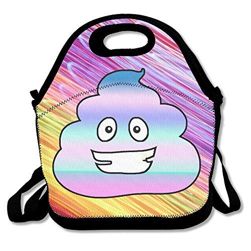 Unicorn caca Emoji bolsa para el almuerzo bolsa bolso fiambrera recipiente con tapa para alimentos (Tote Cooler cálido bolsa para la escuela oficina de trabajo